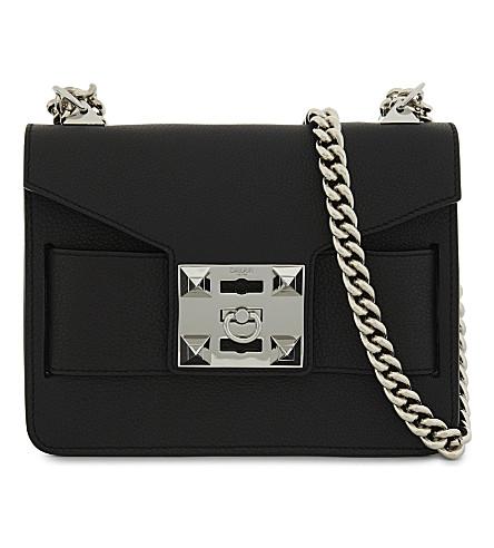 SALAR Mila grained leather shoulder bag (Black
