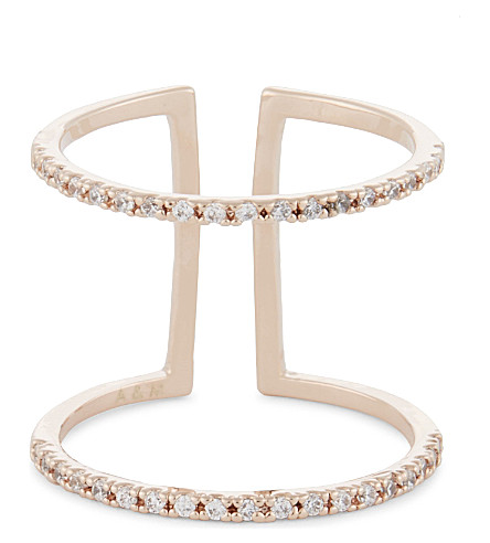 ASTRID & MIYU Double Bewitched rose gold ring (18k+rose+gold
