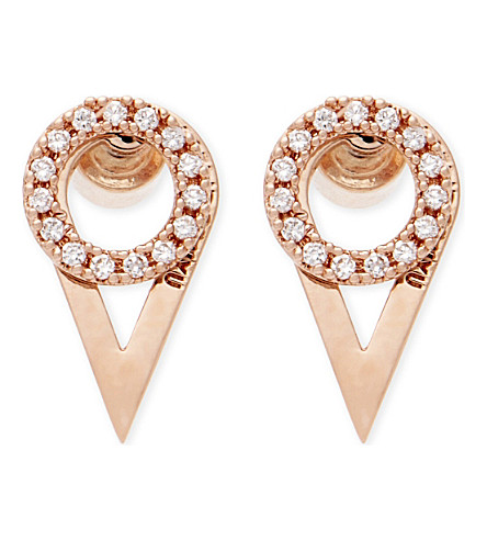 ASTRID & MIYU Fitzgerald rose gold ear jackets (18k+rose+gold