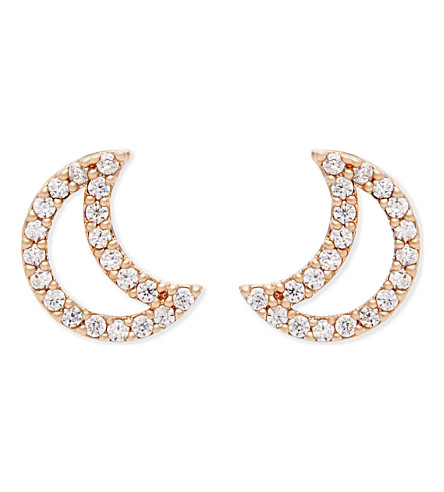 ASTRID & MIYU New Tricks rhodium moon earrings (18k+rose+gold