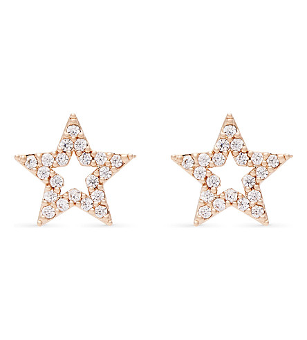 ASTRID & MIYU New Tricks rose gold star earrings (18k+rose+gold
