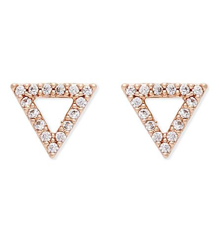 ASTRID & MIYU Tuxedo rose gold triangle earrings (18k+rose+gold