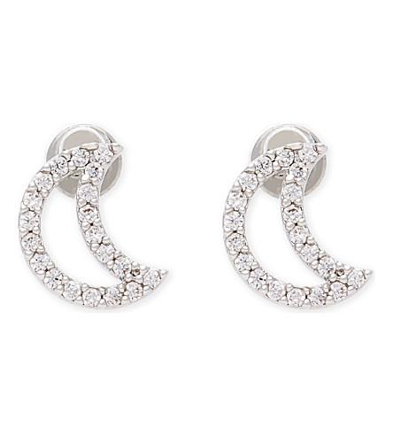 ASTRID & MIYU New Tricks rhodium moon earrings (Rhodium