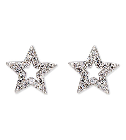 ASTRID & MIYU New Tricks rhodium star earrings (Rhodium