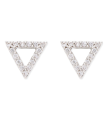 ASTRID & MIYU Tuxedo rhodium triangle earrings (Rhodium