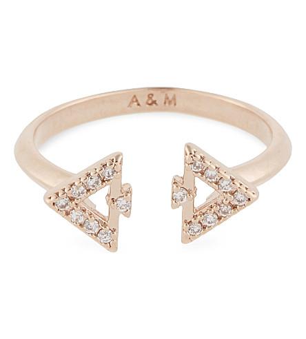 ASTRID & MIYU Fitzgerald Triangle rose gold ring (18k+rose+gold