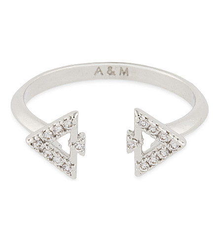 ASTRID & MIYU Fitzgerald Triangle rhodium ring (Rhodium