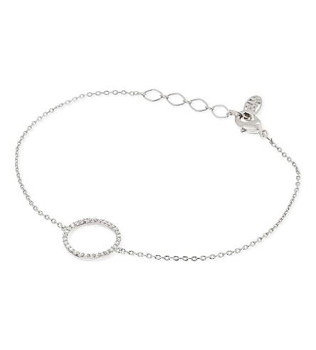 ASTRID & MIYU Tuxedo rhodium circle bracelet (Rhodium