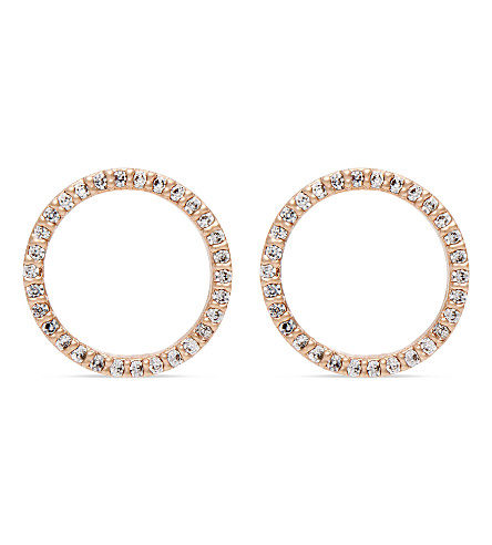 ASTRID & MIYU Tuxedo rhodium circle earrings (18k+rose+gold