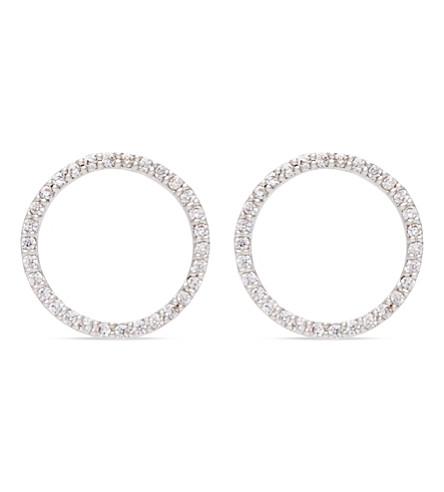 ASTRID & MIYU Tuxedo rhodium circle earrings (Rhodium