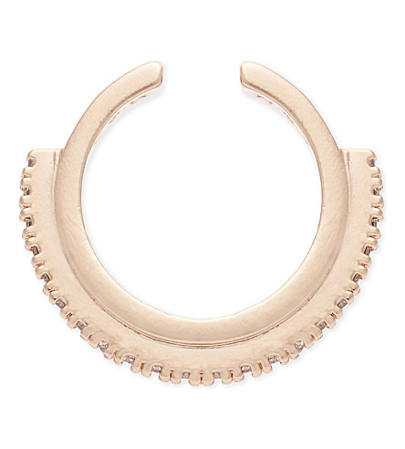 ASTRID & MIYU Fitzgerald rose gold circle ear cuff (18k+rose+gold