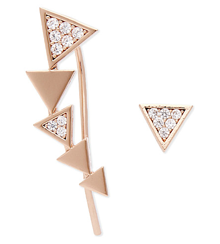 ASTRID & MIYU Black Magic rose gold ear crawler & stud (18k+rose+gold