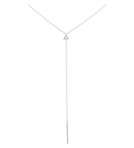 ASTRID & MIYU Rhodium triangle lariat necklace (Rhodium