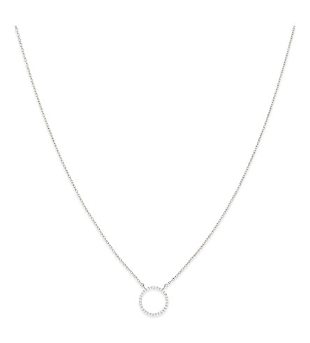 ASTRID & MIYU Tuxedo rhodium circle necklace (Rhodium