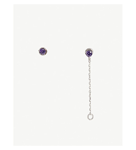 ASTRID & MIYU Aquarius Zodiac earrings (Rhodium