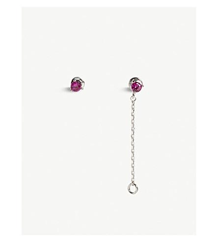 ASTRID & MIYU Cancer Zodiac stud earrings (Rhodium