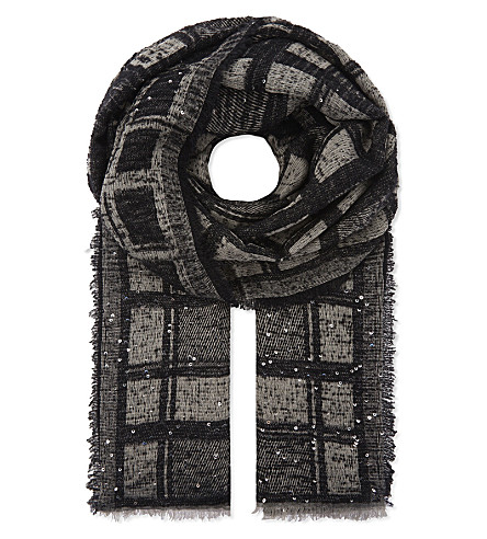 DIANORA SALVIATI Ermia checked sequin scarf (Black