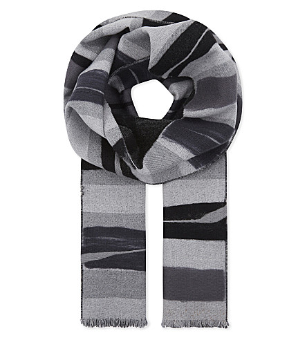 DIANORA SALVIATI Aronne printed wool-cashmere blend scarf (Black/grey