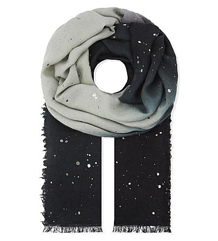DIANORA SALVIATI Gertrude embellished gradient scarf (Bkl/grey/petrol