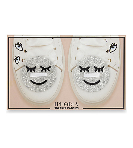 IPHORIA Smiley face trainer patches 5cm pack of two (Silver+smileys