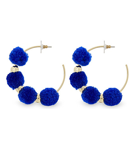 BAUBLEBAR Havana pom-pom hoop earrings (Cobalt blue