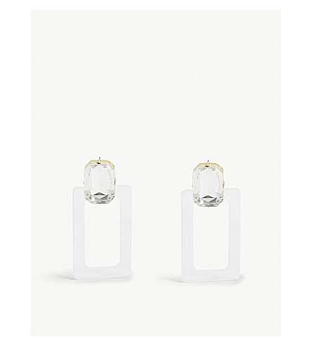 BAUBLEBAR Luza crystal and Lucite drop earrings (Clear+crystal