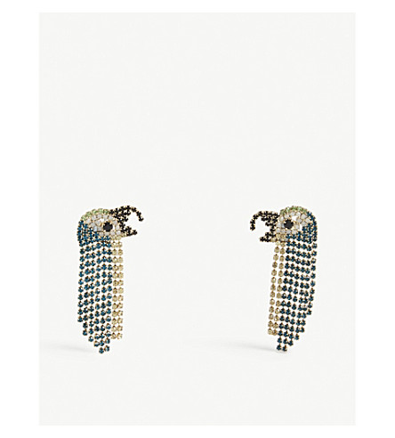 Parrot gemstone drop earrings