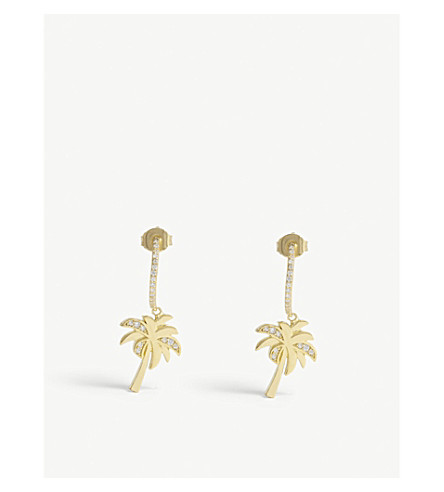 BAUBLEBAR Palma 18ct gold-plated and crystal hoop earrings (Gold