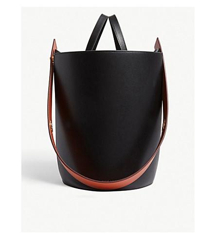 DANSE LENTE Mini Lorna small leather bucket bag (Black/terracotta