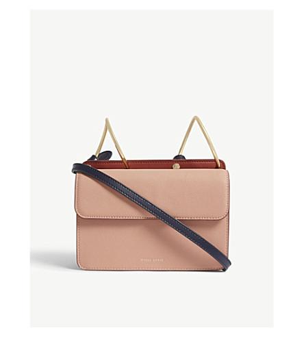 DANSE LENTE Mia grained leather shoulder bag (Blush/red+brown