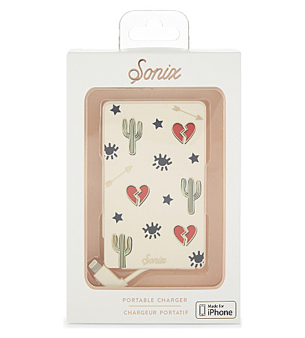 SONIX Heart and cactus portable iPhone charger (Red