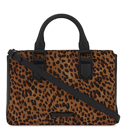 KENDALL & KYLIE Claire leopard print leather and pony-hair cross-body bag (Leopard