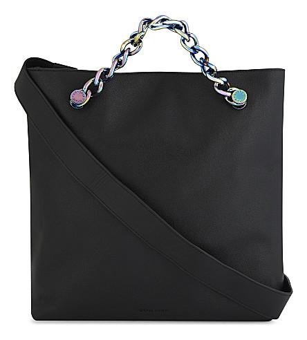 KENDALL & KYLIE Van leather shoulder bag (Black/iridescent