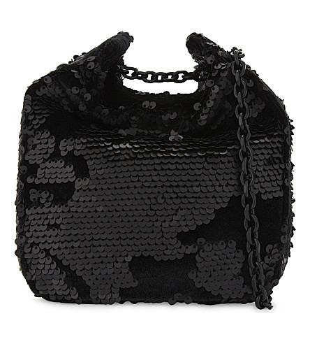 KENDALL & KYLIE Amy sequin cross-body bag (Black