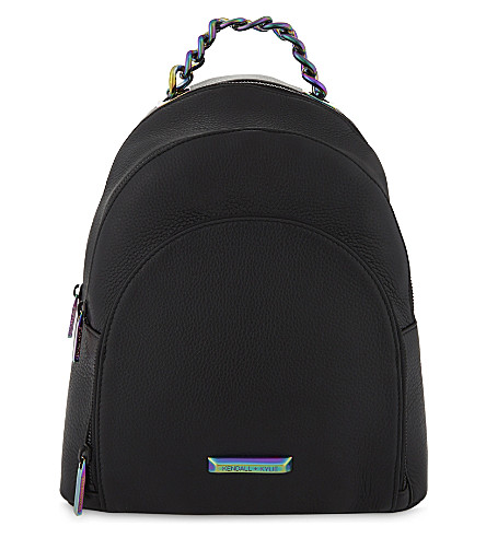 KENDALL & KYLIE Sloane grained leather backpack (Black/iridescent