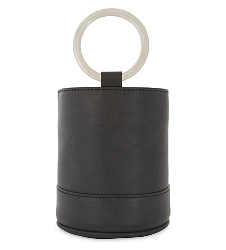 SIMON MILLER Bonsai 15 mini suede bucket bag (Black