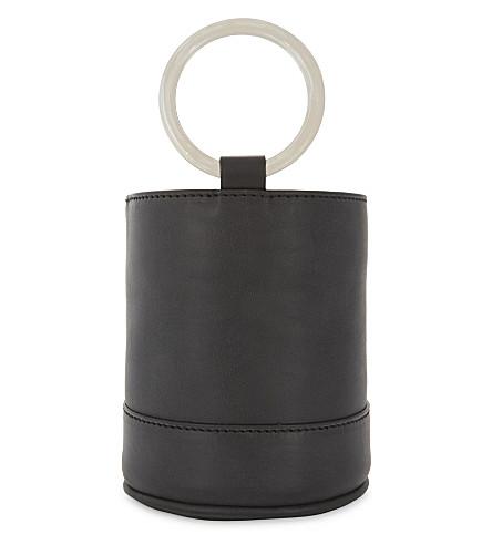 SIMON MILLER Bonsai 15 mini suede bucket bag (Black
