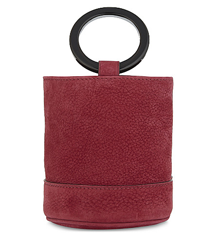 SIMON MILLER Bonsai 15 mini suede bucket bag (Ruby pink