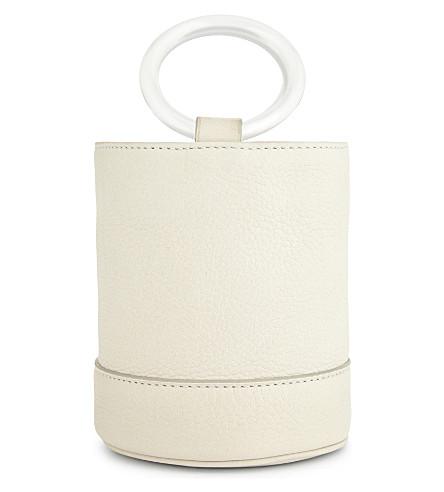 SIMON MILLER Bonsai 15 mini suede bucket bag (Stone+white