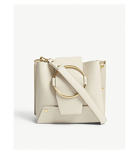 YUZEFI Delila grained leather shoulder bag (Cream