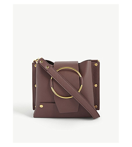YUZEFI Delila leather shoulder bag (Bordo