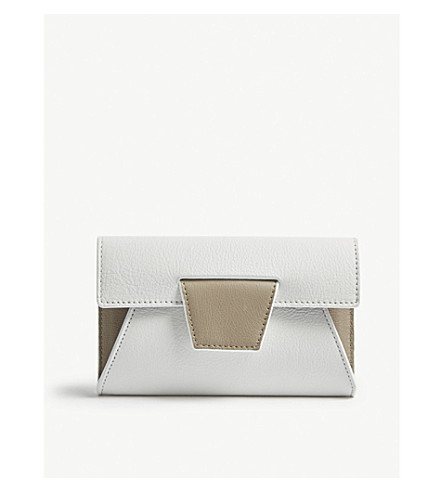 YUZEFI Lolita grained leather wallet (Bianco/kaky