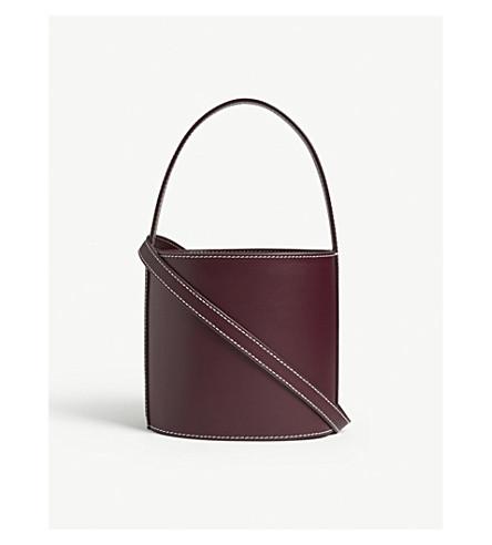 STAUD Bissett leather bucket bag (Bordeaux