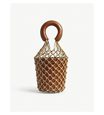 STAUD Moreau macramé and leather bucket bag (Brown