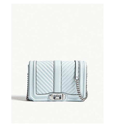 REBECCA MINKOFF Chevron-quilted leather cross-body bag (Aquamarine