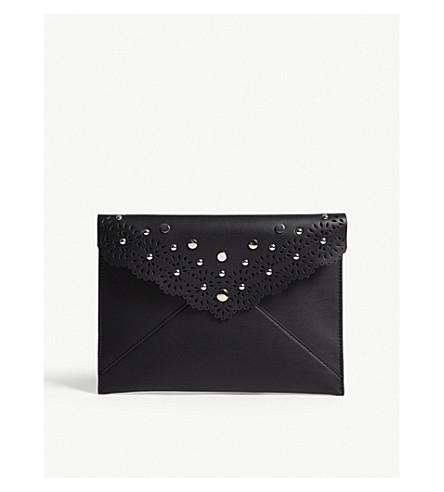 REBECCA MINKOFF Leo leather embellished clutch (Black