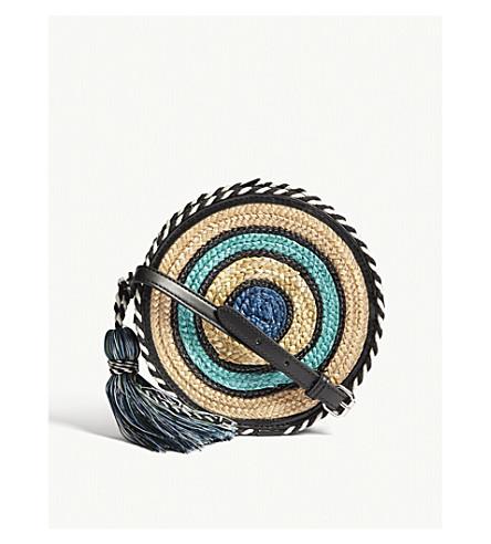 REBECCA MINKOFF Straw circle cross-body bag (Blue+multi