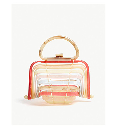 CULT GAIA Lilleth collapsible acrylic clutch (Sand