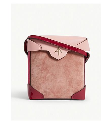 MANU ATELIER Mini Pristine Combo leather suede shoulder bag (Rose/bgum/fuchsia