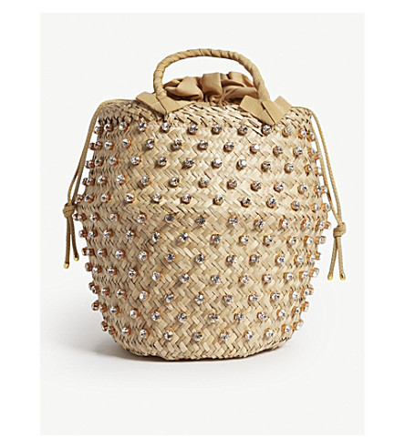 LE NINE Nina large straw bucket bag (Argent
